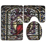 XsWu Bathroom Rug Sacred Heart Of Jesus Catholic Gifts Believe Art Christian Wall Church Cathedral Window View 3 Piece Bath Mat Set Contour Rug And Lid Cover