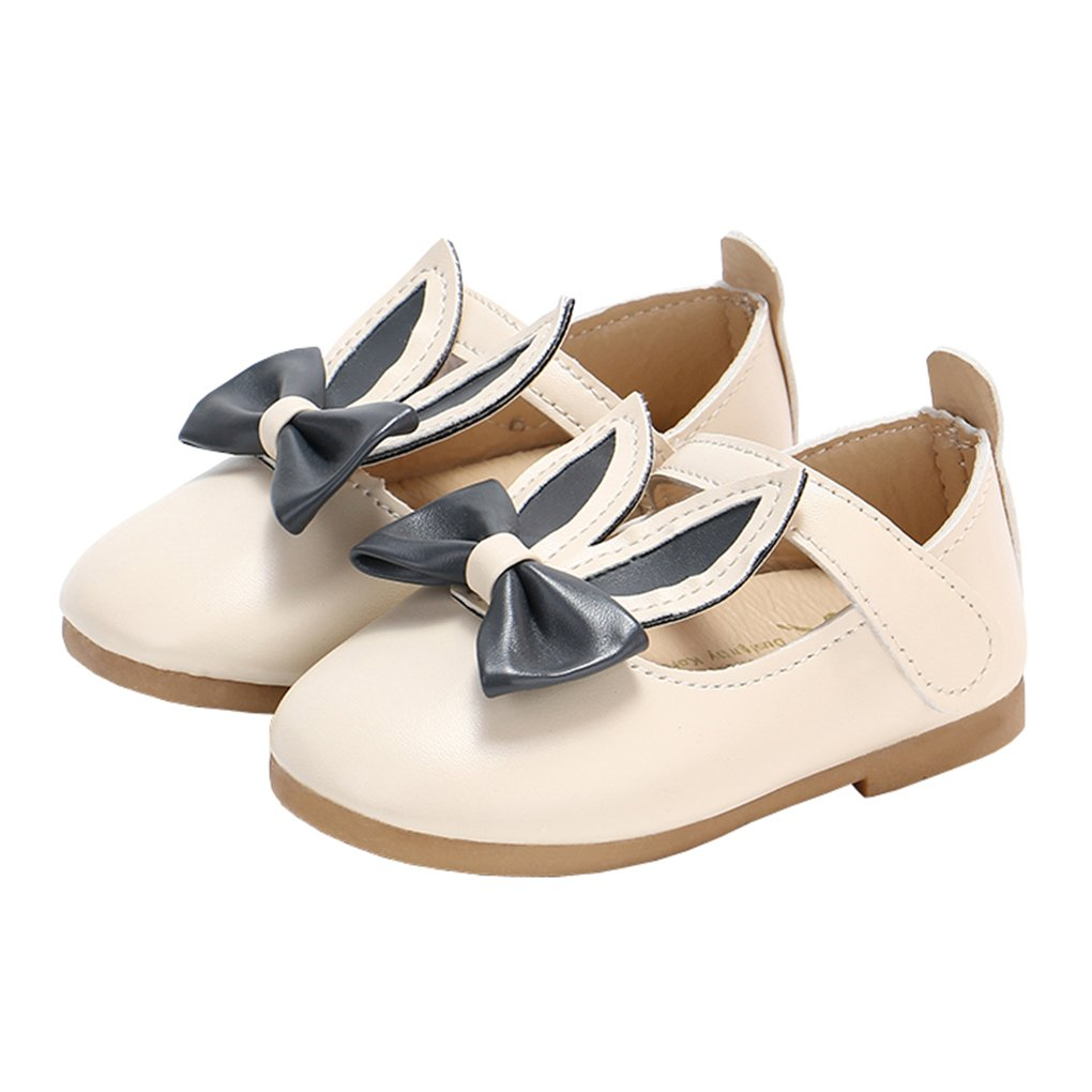 Toddler Girls Rabbit Ears Bowknot Mary Jane Flats Princess Costumes Dress Shoes Beige Size 24 by lakiolins (Image #1)