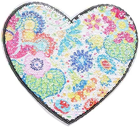 Crewell - Parche de Lentejuelas Reversible, diseño de corazón ...