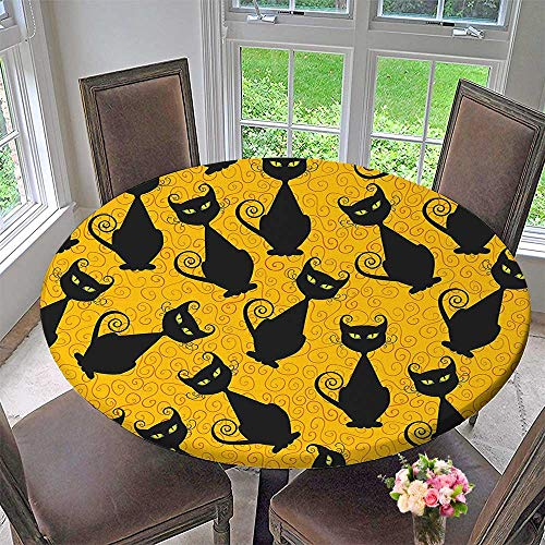 Mikihome Simple Modern Round Table Cloth Black Cat for Halloween On Orange Background Celebration Gift Graphic Black Orange for Daily use, Wedding, Restaurant 40