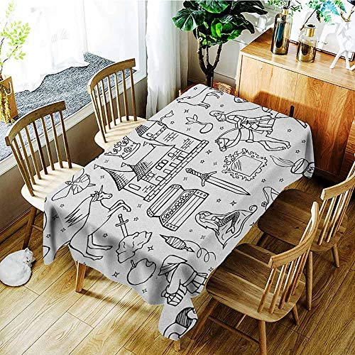 XXANS Waterproof Table Cover,Doodle,Prince Charming and Castle Pirncess Inspired Romance Drawing Knights and Dragons,Table Cover for Dining,W54x90L Black White