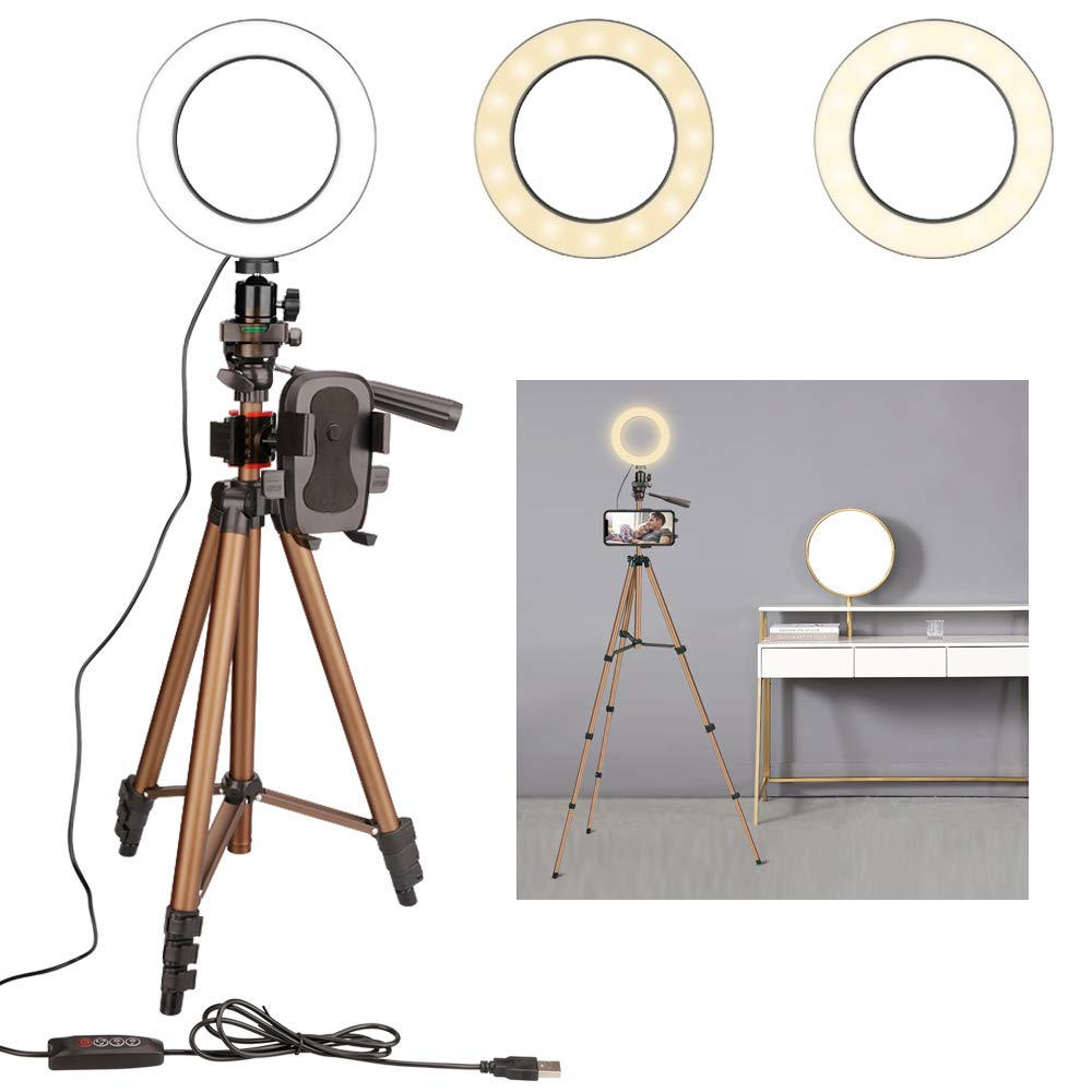 GOSTAR 6.3'' LED Dimmable Selfie Ring Light with Camera Tripod Stand for YouTube Video, Live Stream, Makeup, Photography Lighting, Attached Cell Phone Holder Compatible with iPhone Android