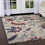 Home Dynamix Tremont Teaneck Area Rug | Wilton Woven Indoor Rug | Floral Pattern, Soft and Durable, Ivory-Navy, 5'3″ x7'2 For Sale