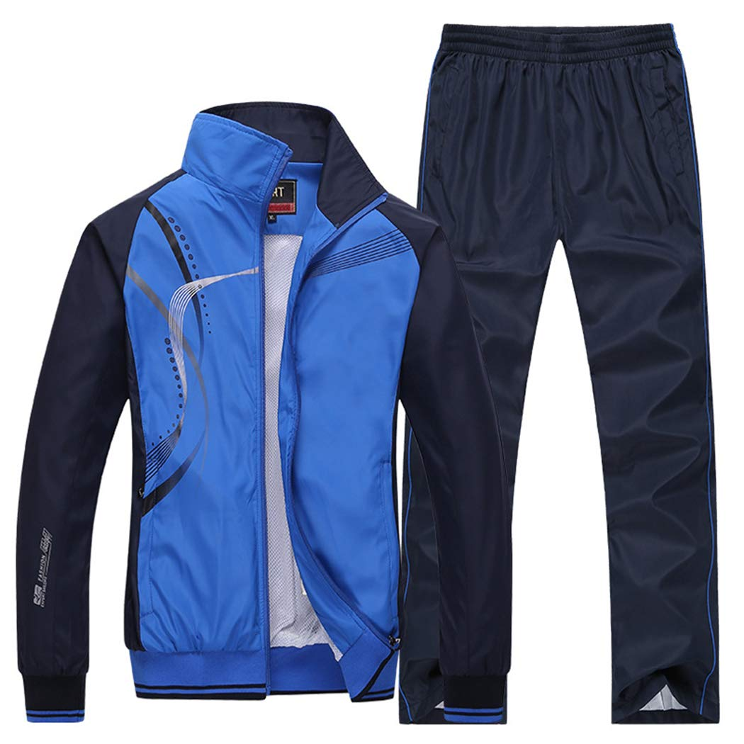 Modern Fantasy Men's Athletic Striped Tracksuit Joggers Running Sports Style Sweat Suits Set (Large, Blue) by Modern Fantasy