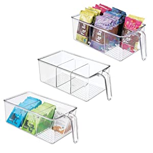 mDesign Plastic Kitchen Pantry Cabinet Refrigerator Food Storage Organizer Bin Holder with Handle - for Organizing Individual Packets, Snacks Food, Produce, Pasta - Medium, 3 Pack - Clear
