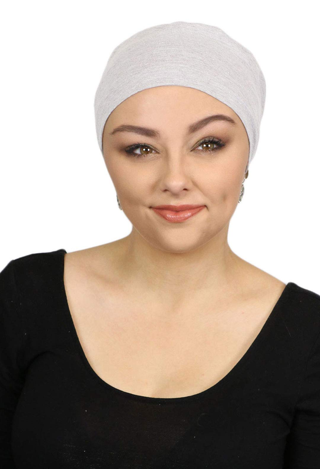 Sleep Cap Chemo Hat Cancer Headwear for Women Sleeping Night Beanie Head Coverings Turbans Hair Loss Serena (White Heather)