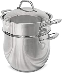 Fortune Candy 10-Quart Pasta Pot with Strainer Insert, Multi Cooker Cookware Set, 18/8 Stainless Steel, 3-Piece, Dishwasher Safe, Induction Ready, Silver