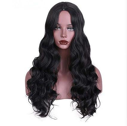 RY@ PELO peluca sintética para las mujeres Negro pelucas largo Cosplay pelo ondulado con alta