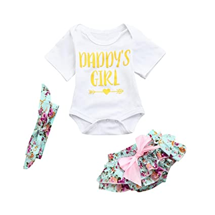 9829fd0b9d2 Image Unavailable. Image not available for. Color  Newborn Infant Baby  Girls Summer Outfits Clothes Cuekondy Daddy s Girl Letter Floral Romper  Jumpsuit ...