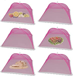 6Pack Pop-Up Mesh Screen Outdoor Food Cover Tents, (17x17Inch) Large Red Food nets for Outdoor Picnic Food Covers for BBQ,Party,Camping,Reusable and Collapsible
