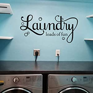 MoharWall Laundry Quotes Decal Laundry Loads of Fun Laundry Room Bubble Wall Stickers Art Vinyl Décor