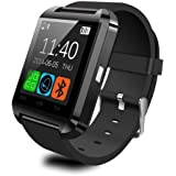 Antech Bluetooth smart watch U8 スマート ウォッチ 1.44インチ 超薄型フルタッチ ウォッチ 多機能 時計 健康 カメラ搭載 ブルートゥース 腕時計 通話対応来電通知 sim/TF対応 ボイスレコーダー 着信通知 時計 watch (ブラック)