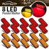 Partsam 20x 4 Clearance/Side Marker Car Truck Trailer Light Indicators 8-LED Amber/Red