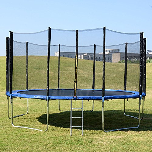 Evelove-15FT-Bounce-Jump-Trampoline-with-Safety-Enclosure-Net-Combo-and-Spring-Pad-Ladder