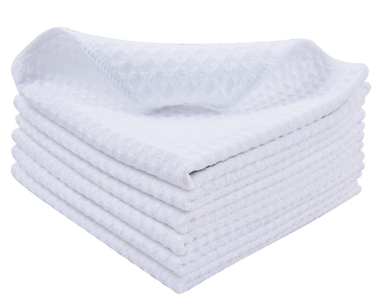 Sinland Thick Microfiber Waffle Weave Dish Cloths Dishcloths Washcloths 13inch X 13inch White