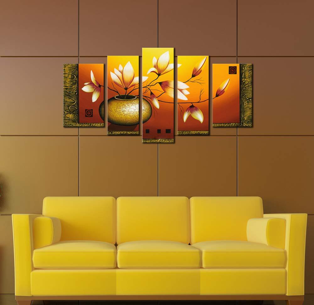 Amazon.com: Wieco Art 5-Piece Golden Bottle Elegent Flowers ...