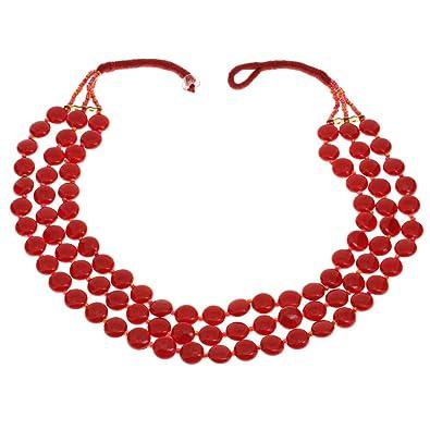 Collar De Perlas De Color Rojo Indio Bisutería Hecha A Mano Del Traje