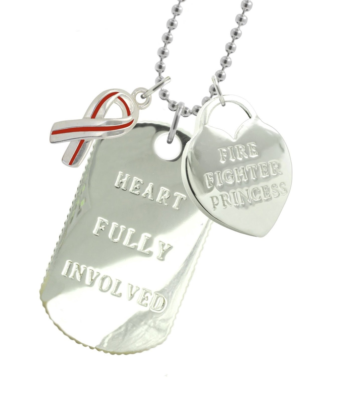 New York 925 & Co. Solid Sterling Silver Firefighter Girlfriend Dog Tag RR