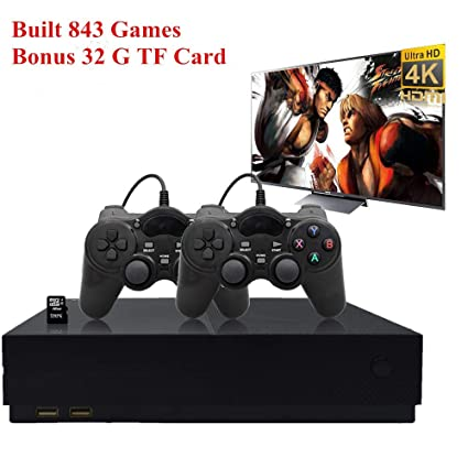 BAORUITENG Retro Game Console, HD Video Game Console 843 Classic Games 4K  HDMI TV Output with 2PCS Joystick for a Great Gifi for Game Player (Black)