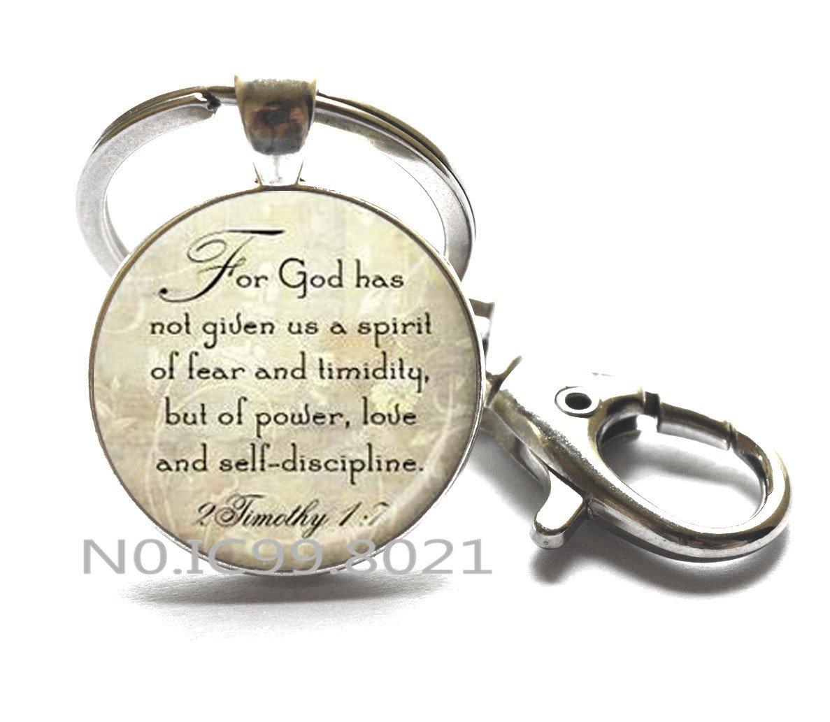 Amazon.com: Llavero, 2 Timothy 1: 7 versículo de la Biblia ...