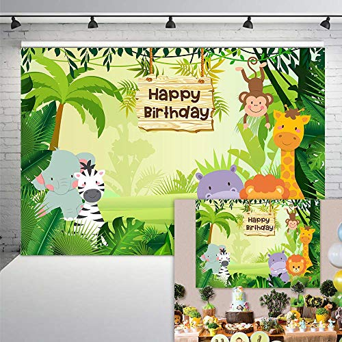 COMOPHOTO Jungle Safari Photography Backdrop Cartoon Animals Forest Kids Birthday Party Photo Booth Backdrop for Event Banner 7x5ft Vinyl Cake Table Decorations Background]()