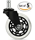 ToolKee Rollerblade Office Chair Wheels Caster Replacement for Carpet & Hardwood Floors, (Set of 5)