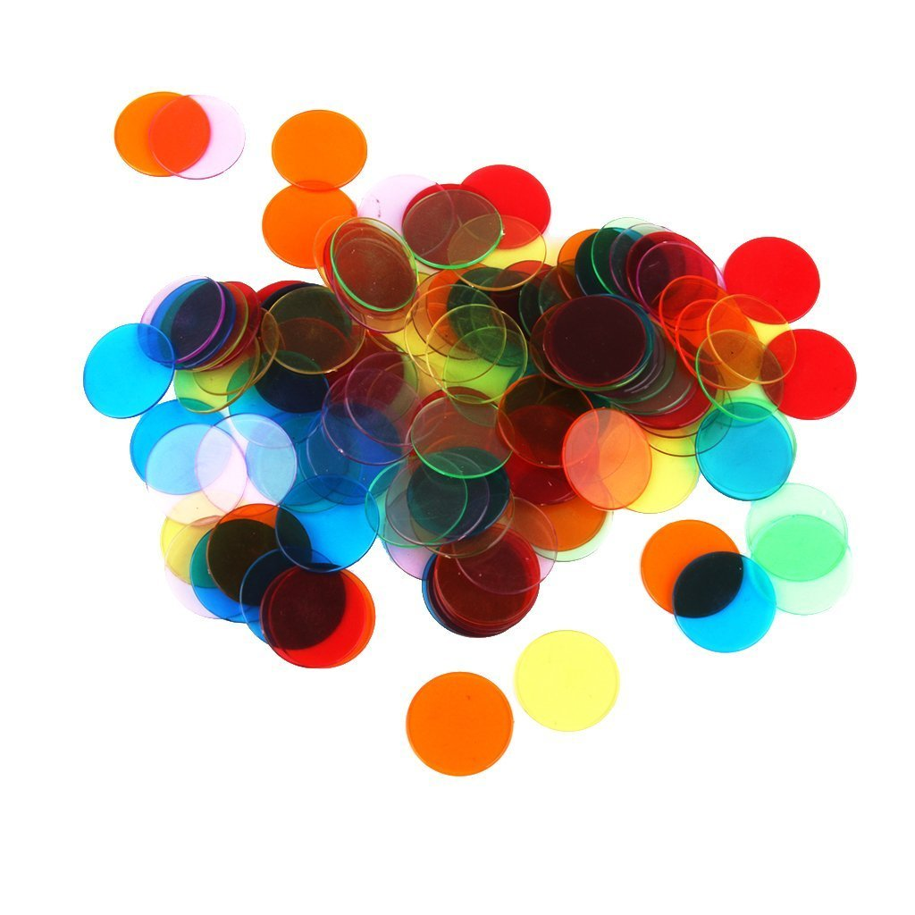 TOOGOO 120 Piezas Chips Fichas Marcadores para Juego de Bingo 6 Colores 3cm 162101