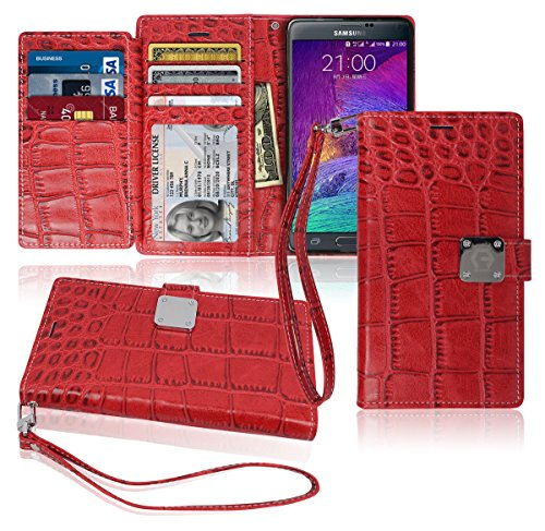 Note4 Wallet Case, Matt [ 8 Pockets ] 7 ID / Credit Card 1 Cash Slot, Power Magnetic Clip With Wrist Strap For Samsung Galaxy Note 4 Leather Cover Flip (Sauvignon Blanc Viognier Wine)