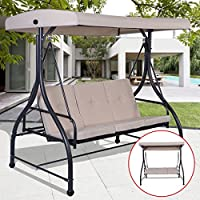 Premium Patio Swing Chair For 3 Person With Canopy And Firm Cushions Perfect Set For Patio, Garden, Outdoor, Porch And Poolside.