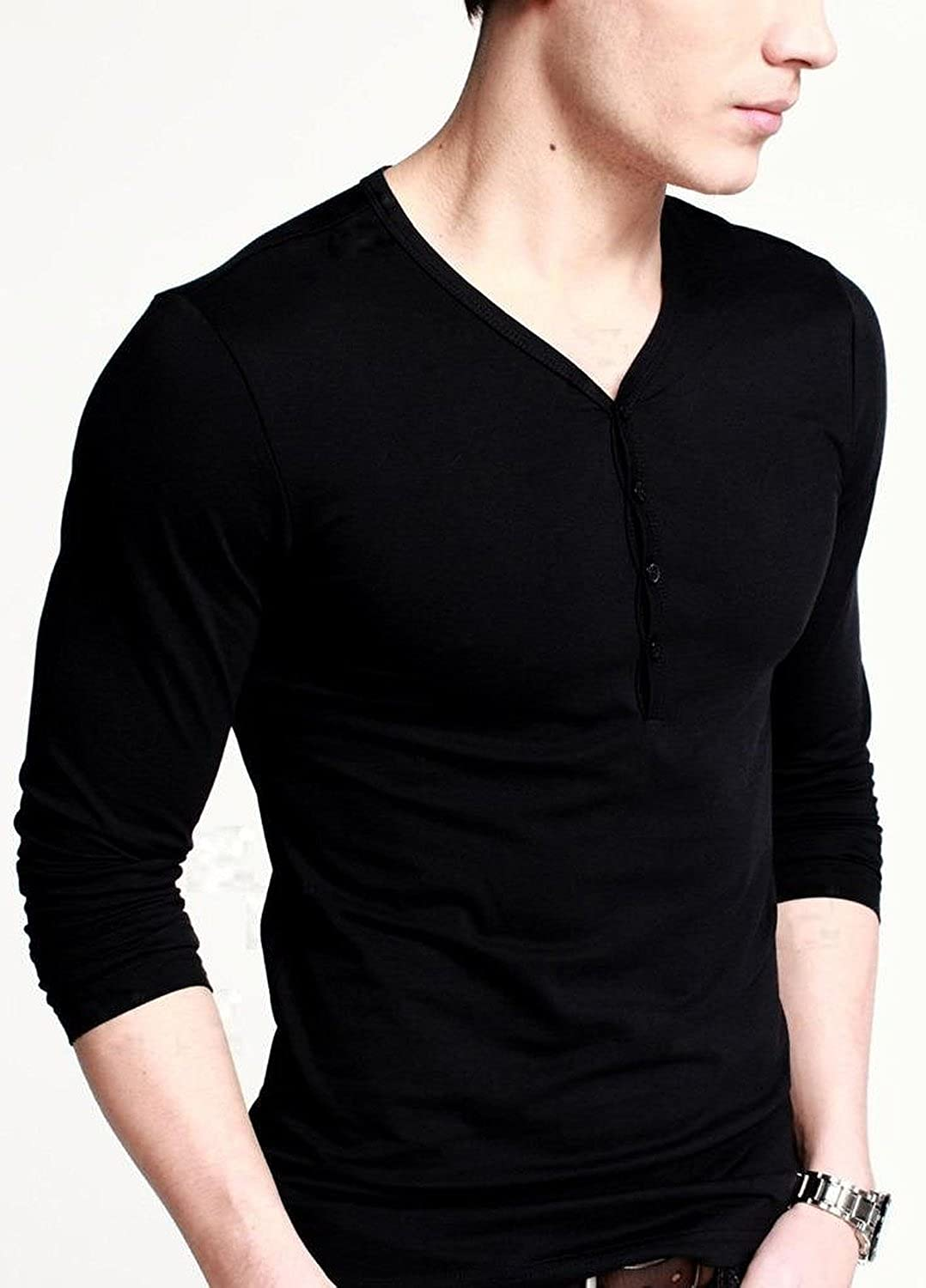 9594e05a Doublju Mens Long Sleeve Henley T Shirts With Button Placket – EDGE ...