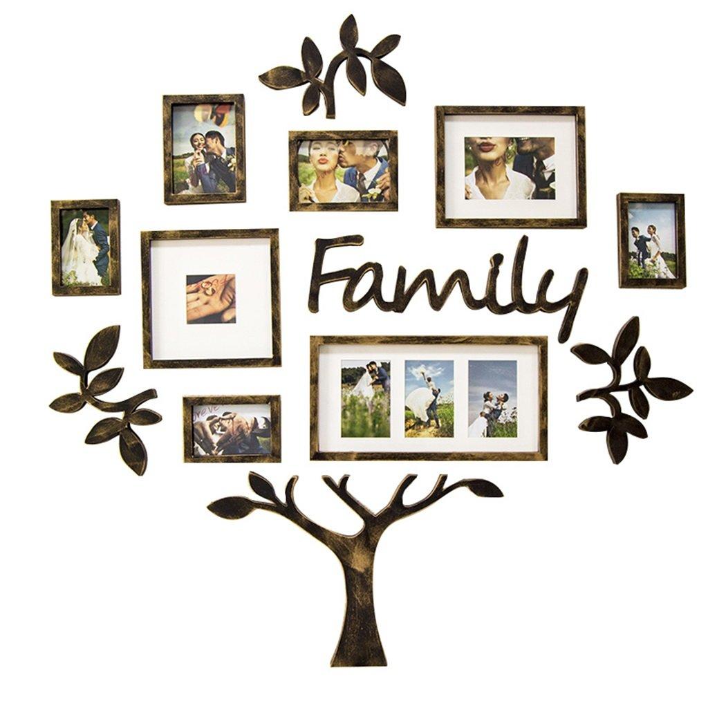 Unbekannt Amerikanische Familienfoto Wand Dekorative Foto Wand Kreative Persönlichkeit Set Baum Rahmen Wohnzimmer Esszimmer Wandbehang (Color : Black, Size : 116.7 * 119CM)