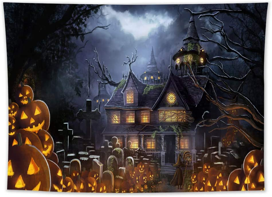 LB Halloween Tapestry Haunted Castle Tapestry Wall Hanging Creepy Graveyard Woods Moon Night Pumpkin Jack-O-Lantern Wall Decor Wall Tapestry for Bedroom Living Room Dorm Party Decorations 60x40 inch