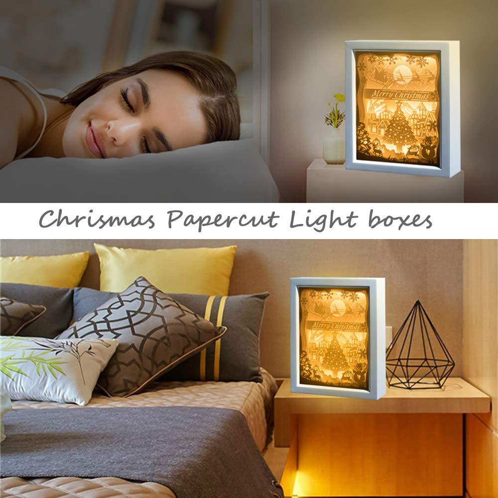 Baby Nursery Kids Bedroom Living Room FOMTOR Papercut Light Boxes Chrismas 3D Lamp 3D Shadow Box Led Light Night Lamp Chrismas Gift for Kids and Adults