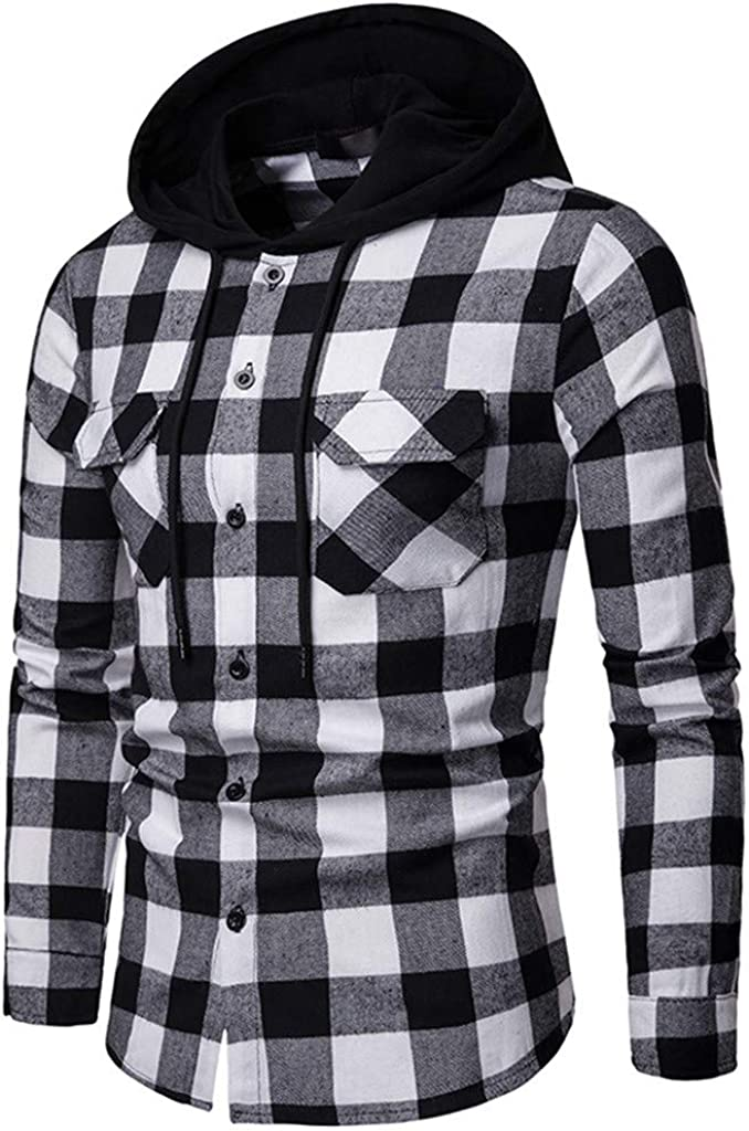 Emerayo Men/'s Casual Shirt Men/'s Lattice Painting Pocket Button Down Long Sleeve Slim Fitting Hooded Shirt Hooded Blouse