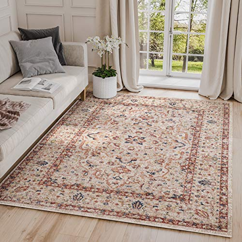 Abani Rugs Large Beige Red Diamond Medallion Area Rug Vintage Traditional Style Accents, Babylon Collection Turkish Made Superior Comfort Construction Stain Shedding Resistant, 4 x 6 feet