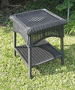 wicker resin two tier patio side table antique black garden outdoor. Black Bedroom Furniture Sets. Home Design Ideas
