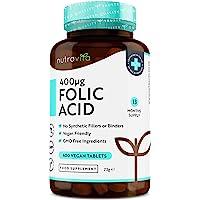 Tabletas de ácido fólico 400 mcg - 400 tabletas veganas - Suministro 13 meses - Función normal del sistema inmunológico…