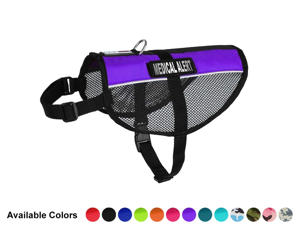 Dogline MaxAire Multi-Purpose Mesh Vest for Dogs and 2 Removable Medical Alert Patches, Large, Purple