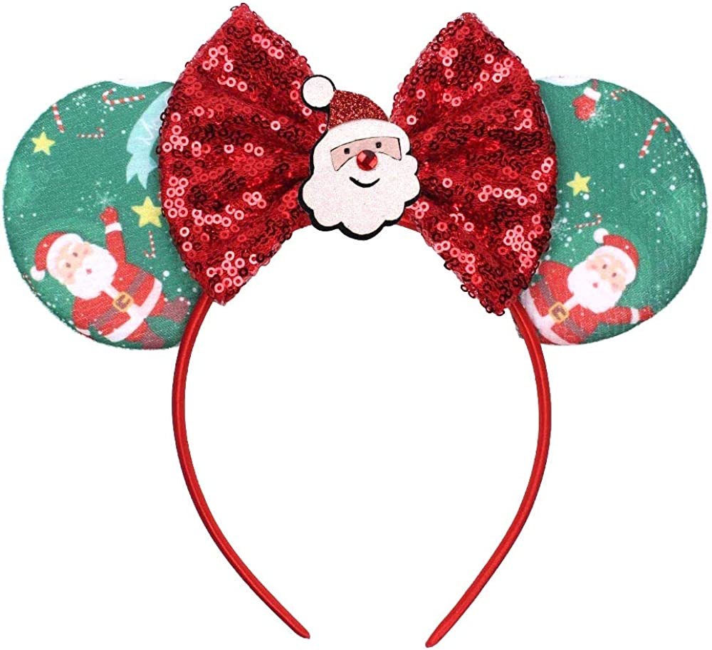 YanJie Mouse Ears Bow Headbands, Glitter Party Princess Decoration Cosplay Costume for Girls & Women
