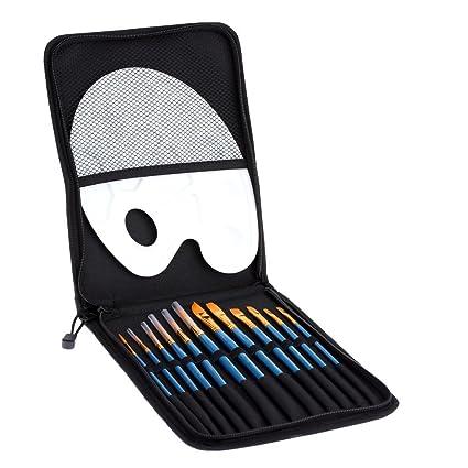 Anself - Juego de 12pcs Pinceles de Pintura + Paleta + Estuche - Kit para Pintar Pintura Acuarela Óleo Acrílica Gouache