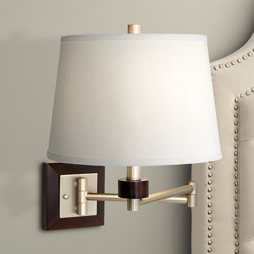 Brushed Steel and Wood Plug-In Swing Arm Wall Light - Wall Sconces - Amazon.com & Brushed Steel and Wood Plug-In Swing Arm Wall Light - Wall Sconces ... azcodes.com