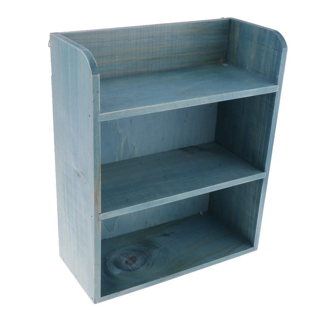 Fityle Desk Bookshelf Wooden Bookcase Organizer Rack Unit Storage Box Shelves Wooden Storage Shelf Rack Blue 25x11 5x30 7cm