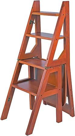 Escaleras plegables Cuatro pasos escalera silla cuatro plegable silla escalera madera hogar multifunción plegable silla escalera interior móvil escalera ascendente hogar plegable estante: Amazon.es: Hogar