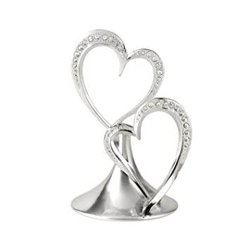 Hortense B Hewitt Wedding Accessories Sparkling Love Double Heart Silver Plated Cake Top