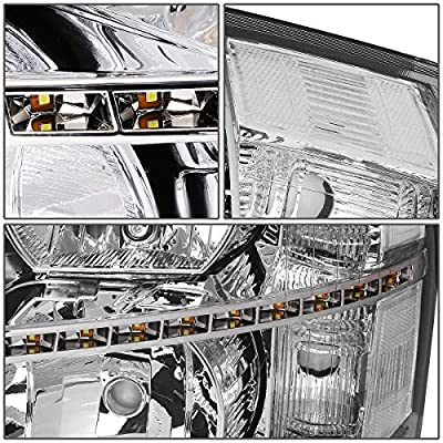 DNA Motoring HL-LED-CSIL07-CH-CL1 Chrome Housing/Clear Corner Pair LED DRL Strip Headlight/Lamp [For 07-14 Chevy Silverado]: Automotive