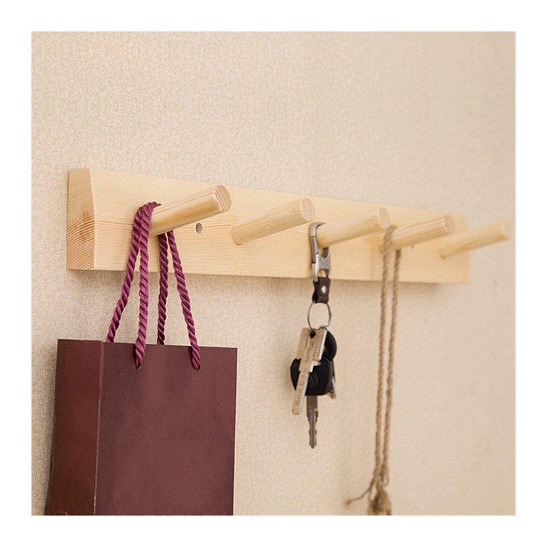 Jiyaru Wooden Coat Rail Rack Hook Wall Mounted Clothes Hanger Hat Holder Burlywood by Jiyaru (Image #1)