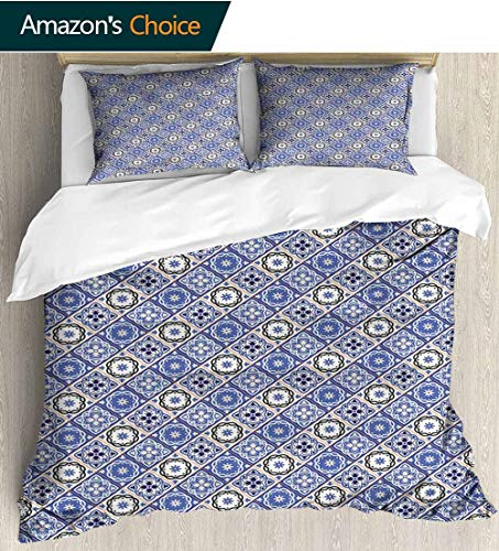 - Moroccan Full Queen Duvet Cover Sets,Diagonal Rhombus Pattern with Oriental Ornament Cultural Inspirations Kids Bedding-Does Not Shrink or Wrinkle 79