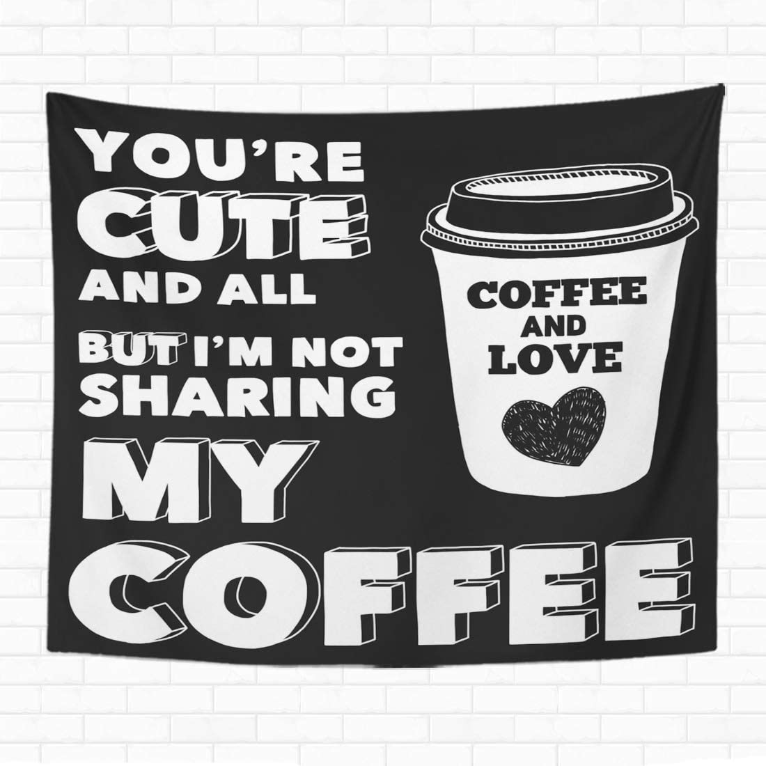 Topyee 60x80 Inch Tapestry Wall Hanging Coffe Blackboard About Coffee Addict Advertise Bar Beverage Black Home Decorative Tapestries Wall Blanket for Dorm Living Room Bedroom