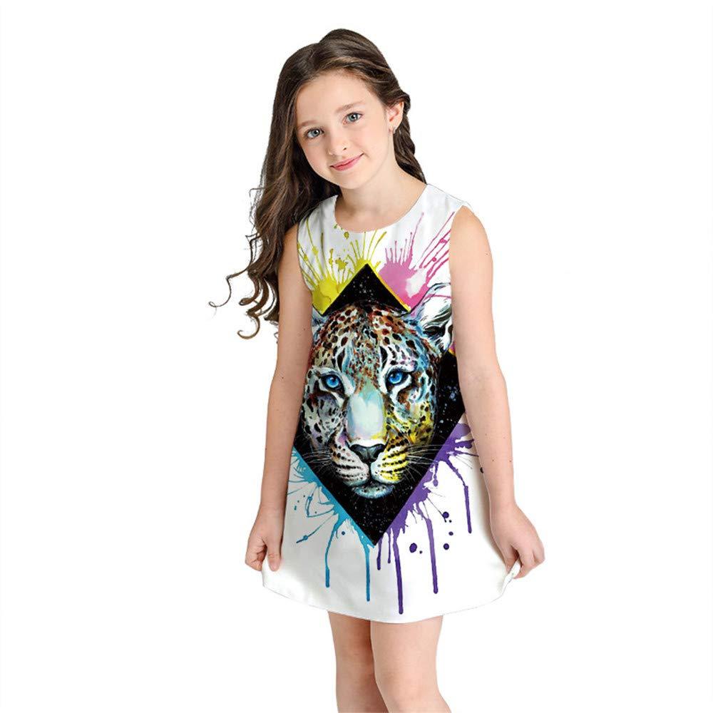 Nigalaly Fashion Toddler Girls Dress, Summer Kid Cartoon Printed Sleeveless Dress Short Skirt