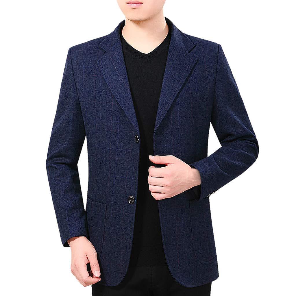 MIS1950s Men's Blazer Plaid Casual Double Button Suit Lapel Slim Fit Stylish Jacket Coat by MIS1950s
